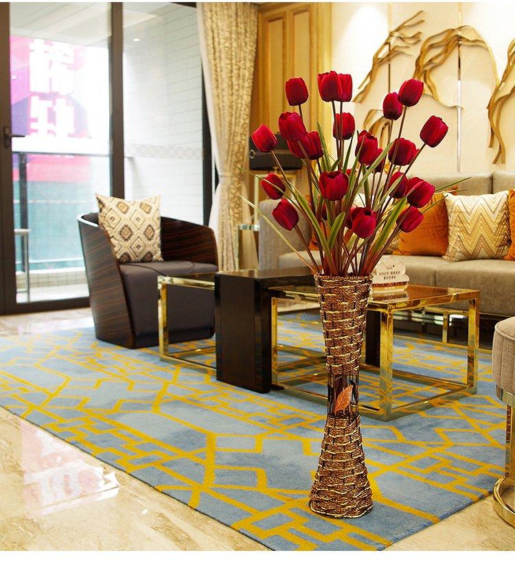 欧式家居餐桌插花仿真花干花装饰客厅摆件郁金香花艺藤编花瓶套装