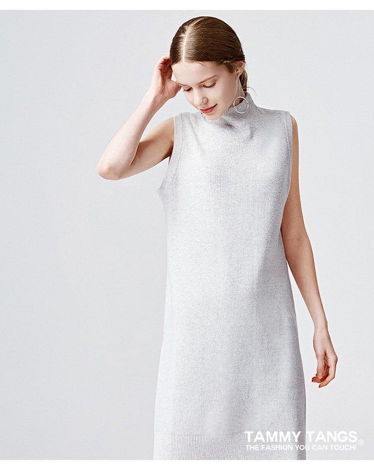 糖力芊花灰中长款无袖连衣裙显瘦针织裙子