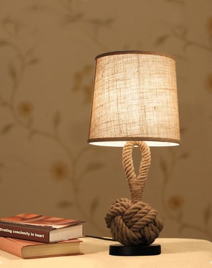 美式复古创意手工编织麻绳卧室床头灯台灯