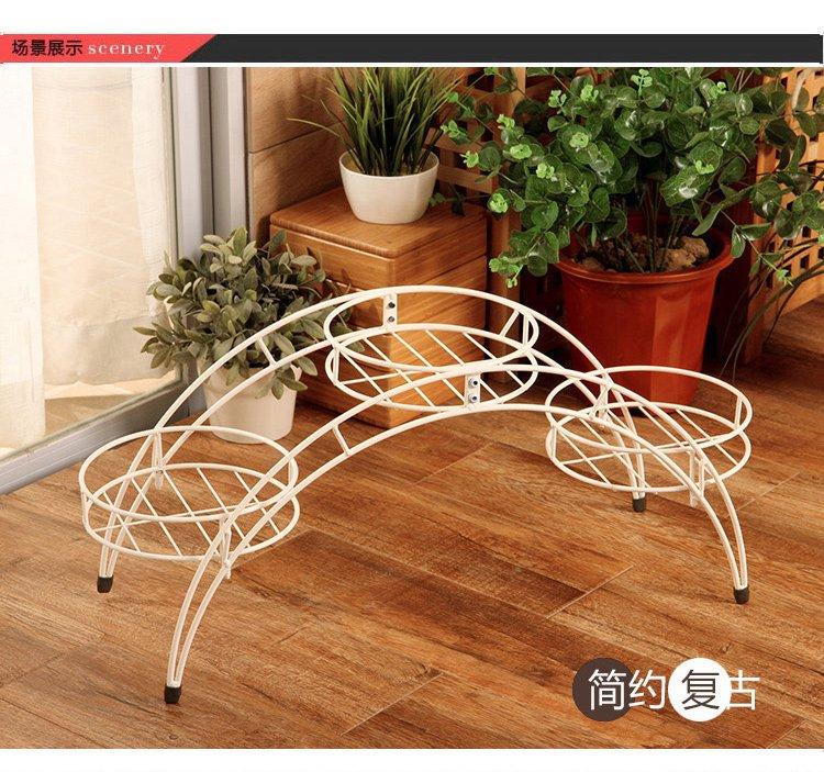 欧式白色拱形铁艺花架落地盆栽架