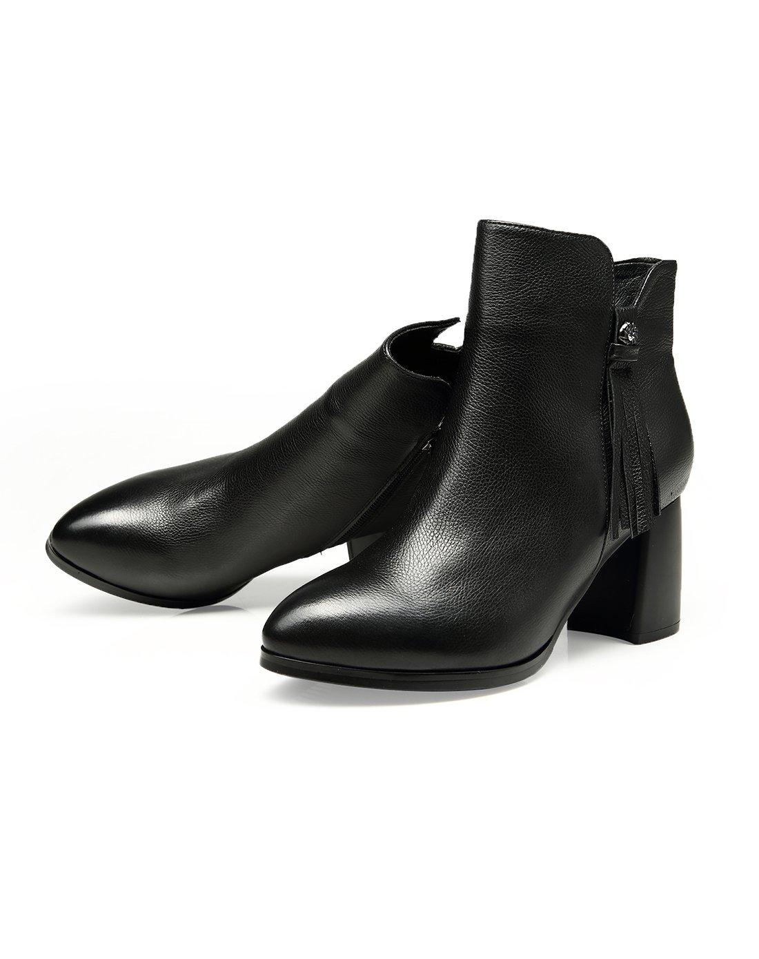 牛皮革侧面流苏时尚尖头粗跟短靴