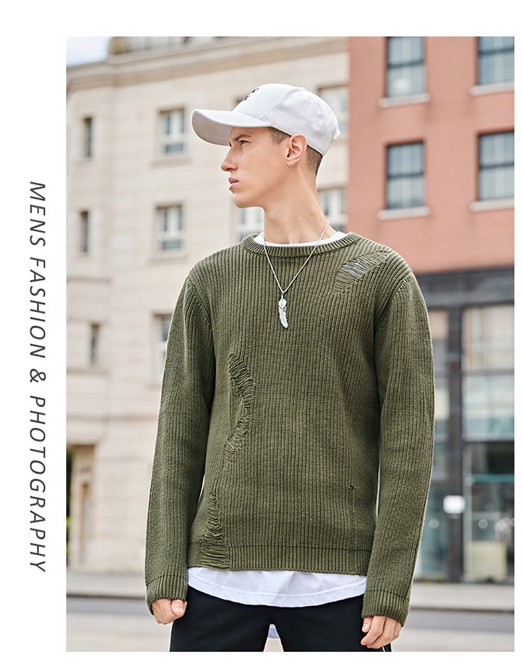 2017秋冬新品欧美潮流时尚保暖男士针织衫 毛衣