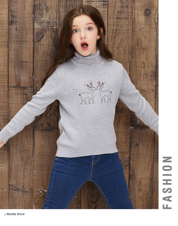 女童可爱动物刺绣毛衫