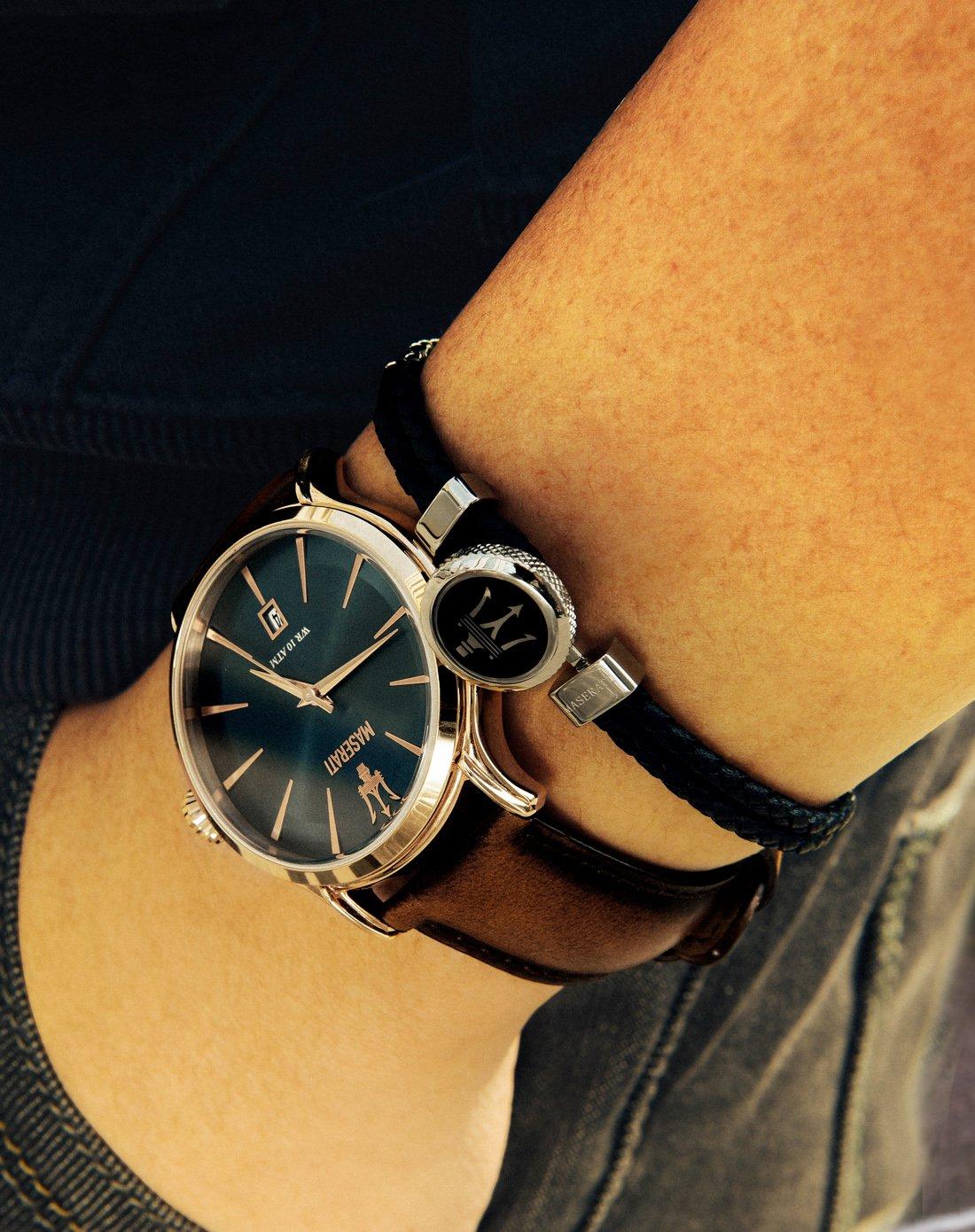 玛莎拉蒂手表配饰黑色皮革手链