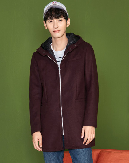 森马冬装男士韩版潮流可脱卸两件套中长款棉衣图片