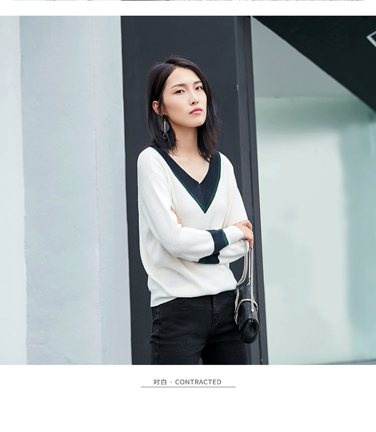 【杜鹃明星同款】新款 时尚撞色v领直筒针织衫 女款毛衣