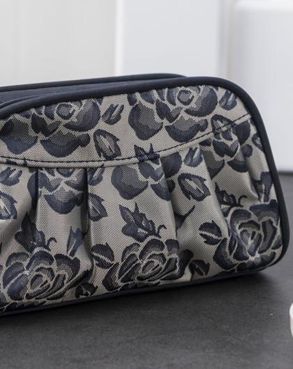 中号玫瑰花纹半圆形 收纳袋 化妆包