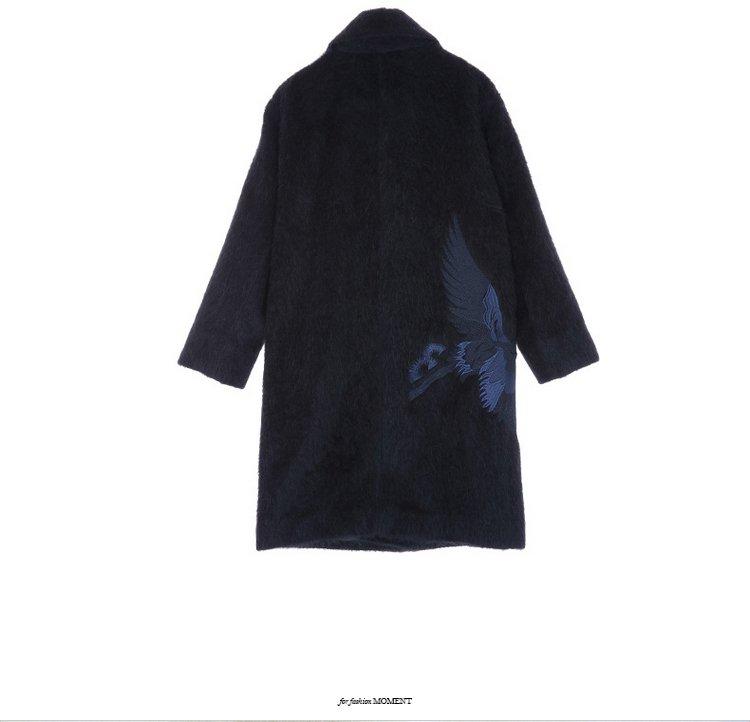 仙鹤刺绣毛呢大衣