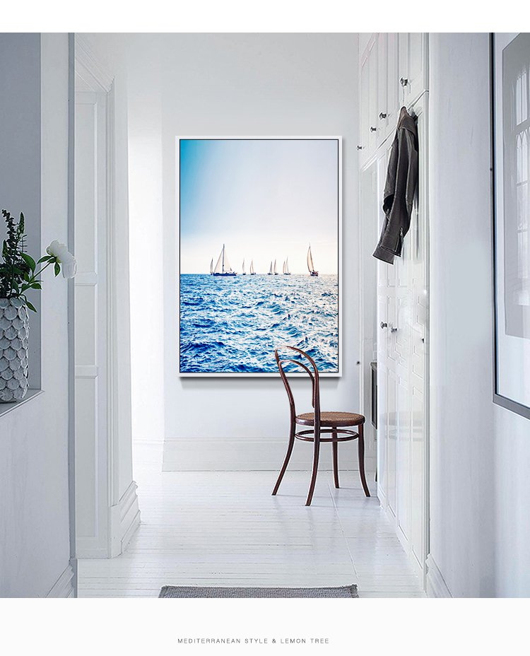 海的阶梯 简约现代竖版玄关过道走廊风景挂画卧室壁画客厅装饰画