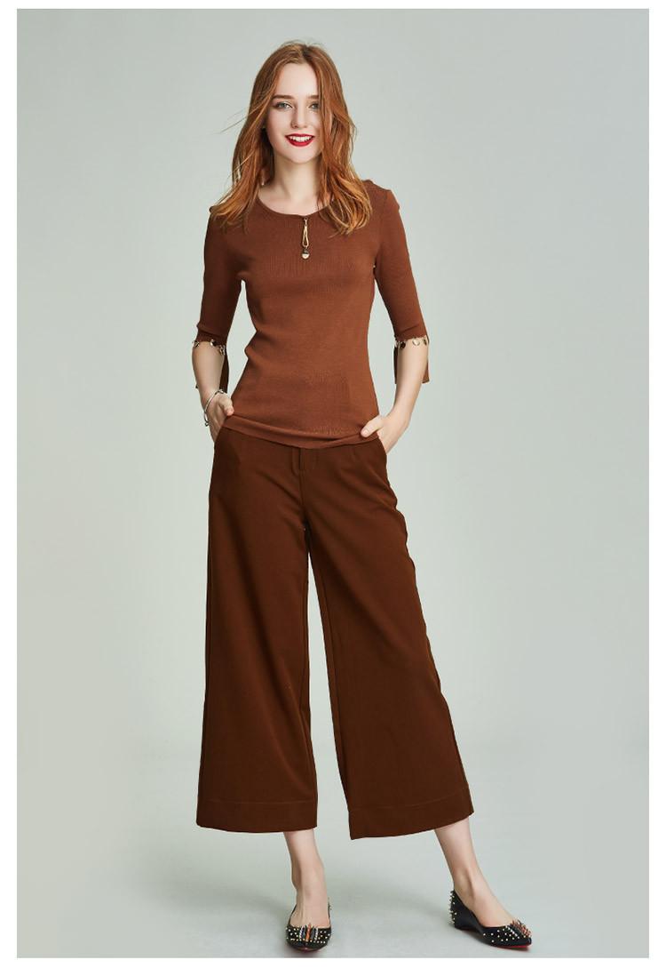 百搭系腰带宽松显瘦时尚阔腿裤