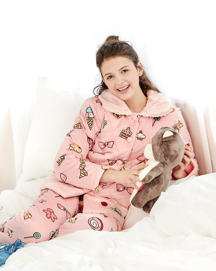 睡衣女款冬季珊瑚绒夹棉可爱冰激凌睡衣甜美开衫舒适长袖家居服套装
