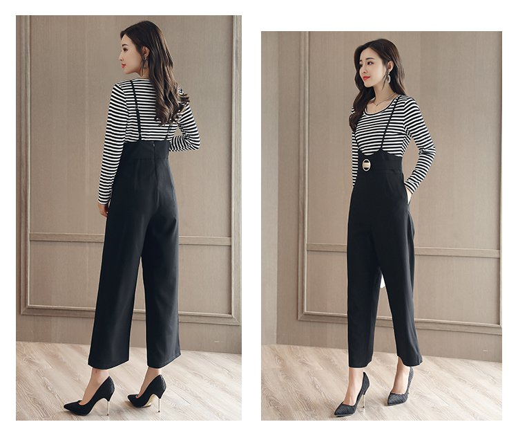 女款时尚百搭弹力条纹打底衫针织衫 可调节背带高腰阔腿裤套装