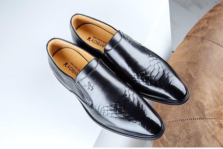 男士蛇皮纹牛皮耐磨商务正装皮鞋男鞋