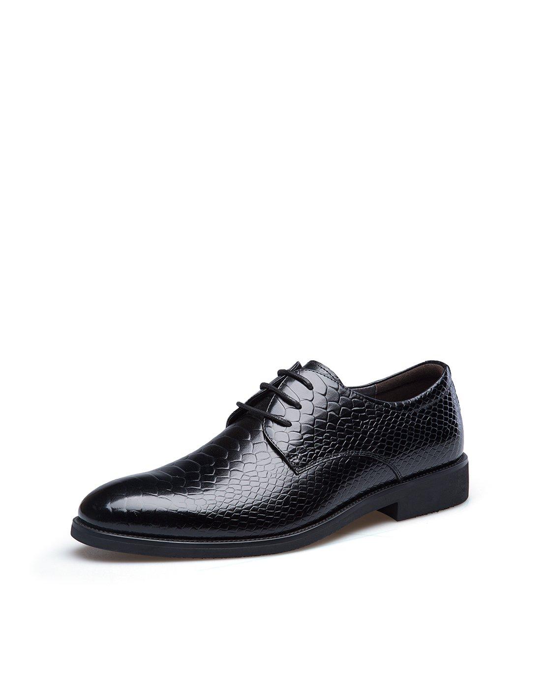 男士蛇皮纹牛皮系带商务正装皮鞋男鞋