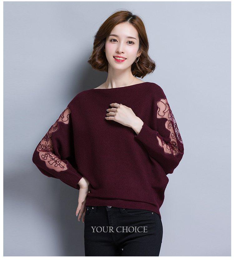 2018新款针织衫 女款镂空时尚蝙蝠袖针织衫