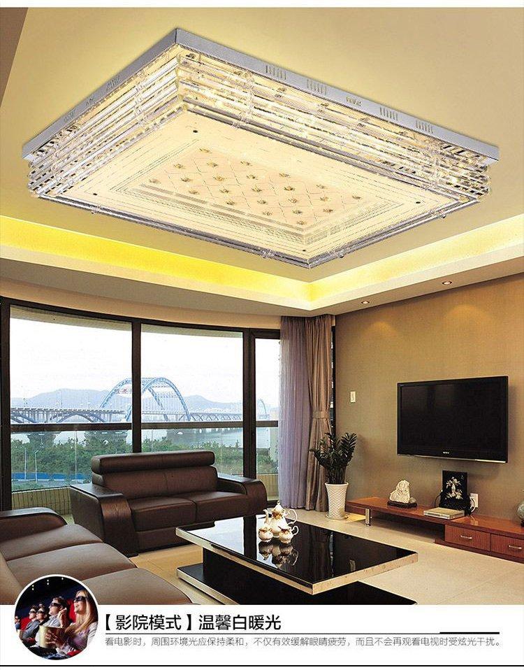 led吸顶灯客厅卧室婚房长方形可遥控欧式奢华套餐水晶灯