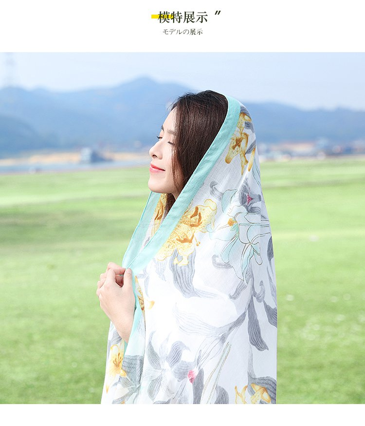 围巾女春秋防晒披肩海滩沙滩巾海边超大两用纱巾百搭度假丝巾夏季