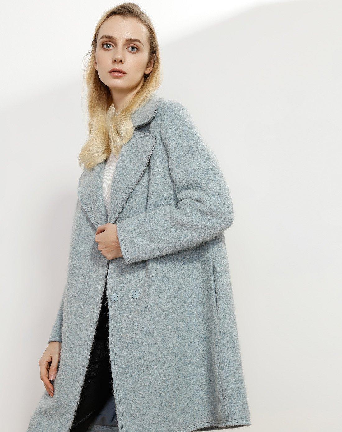 娜尔思NAERSI/娜尔思2017新品冬装中长款时尚长袖翻领外套N1AGH9129W2