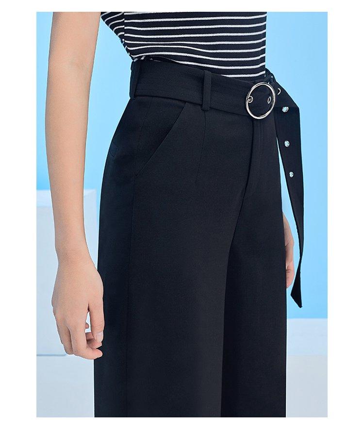 韩版时尚优雅金属腰带高腰阔腿裤
