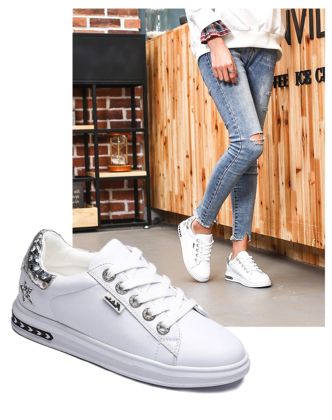 木林森春季新款女休闲低帮板鞋内增高简约时尚运动小白鞋E818197801