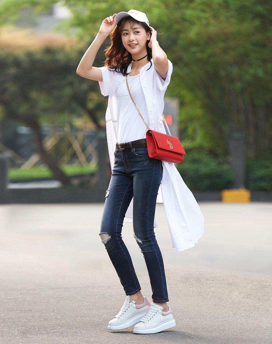 韩版小白鞋女松糕鞋系带厚底休闲鞋子