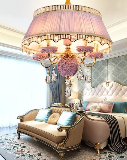 欧式水晶餐厅吊灯 公主房卧室灯 水晶宫廷陶瓷灯具客厅灯图片