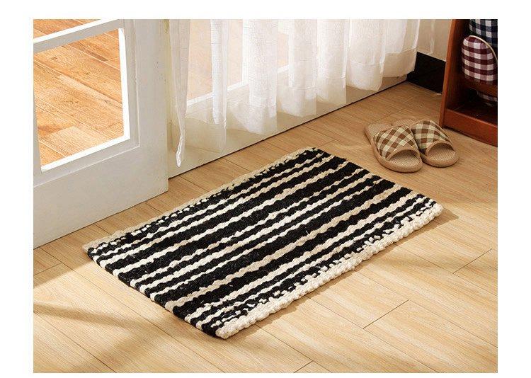 加大号印度手纺黑白条纹黄麻地毯