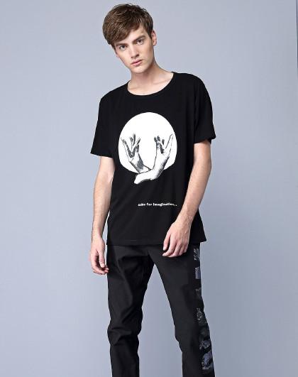欧宝原创设计师潮牌男装时尚个性百搭针织休闲短袖衫t恤