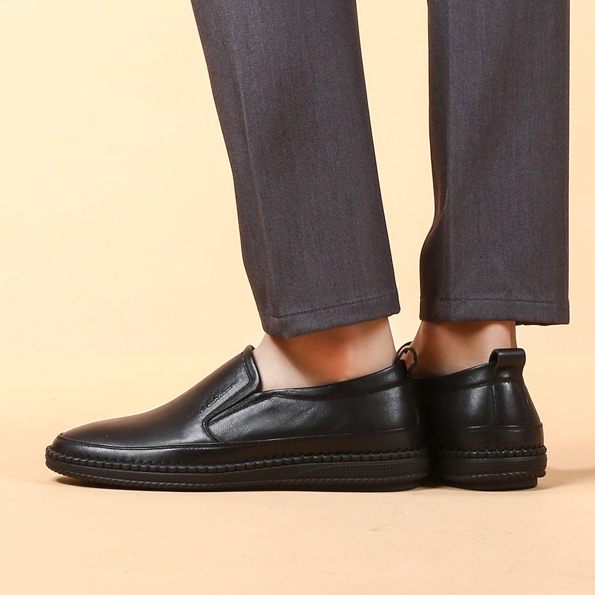 木林森男鞋春季真皮休闲鞋男士皮鞋男青年英伦套脚简约百搭休闲鞋男Q01838291