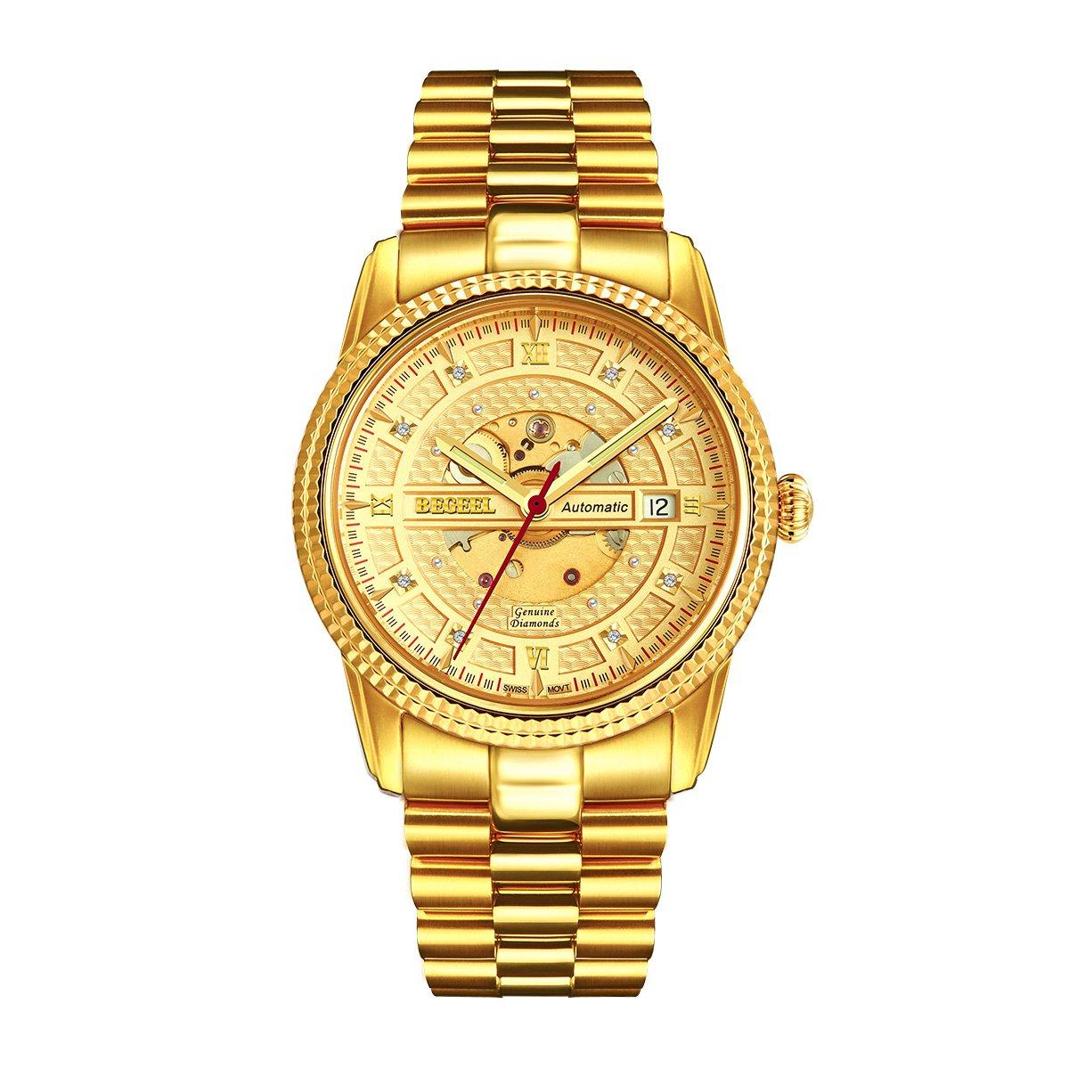 宾爵宾爵瑞士机芯机械手表镀金真钻男士手表镂空手表全自动机械男表B346M-S