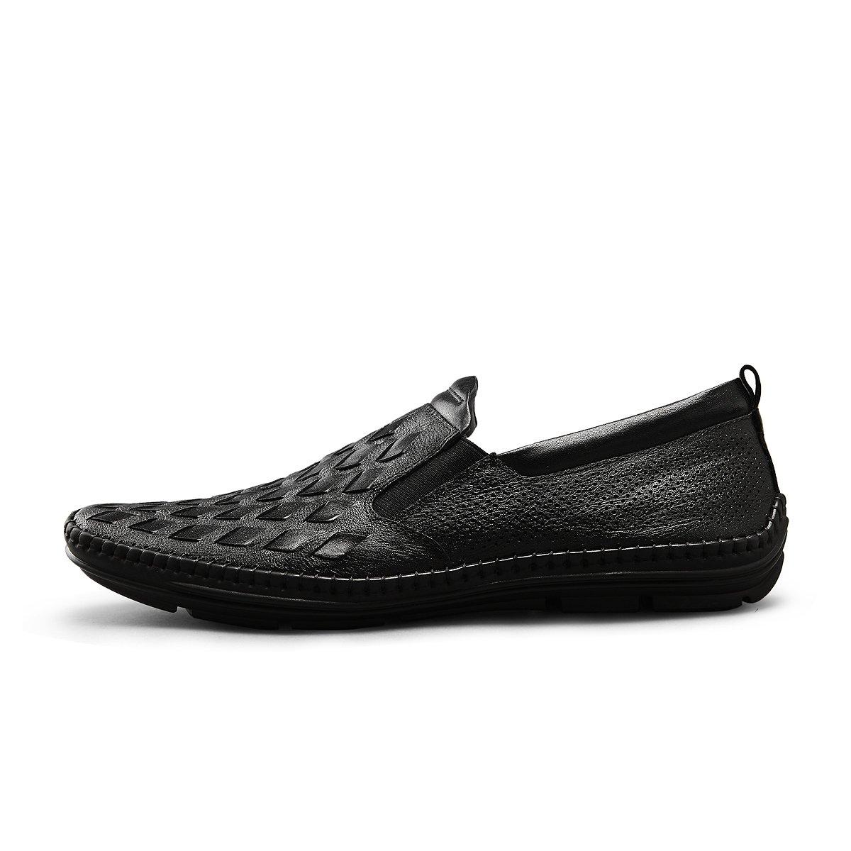 策恩策恩2019春季新款男士商务皮鞋 菱形编织休闲套脚拉线鞋男CV8074A