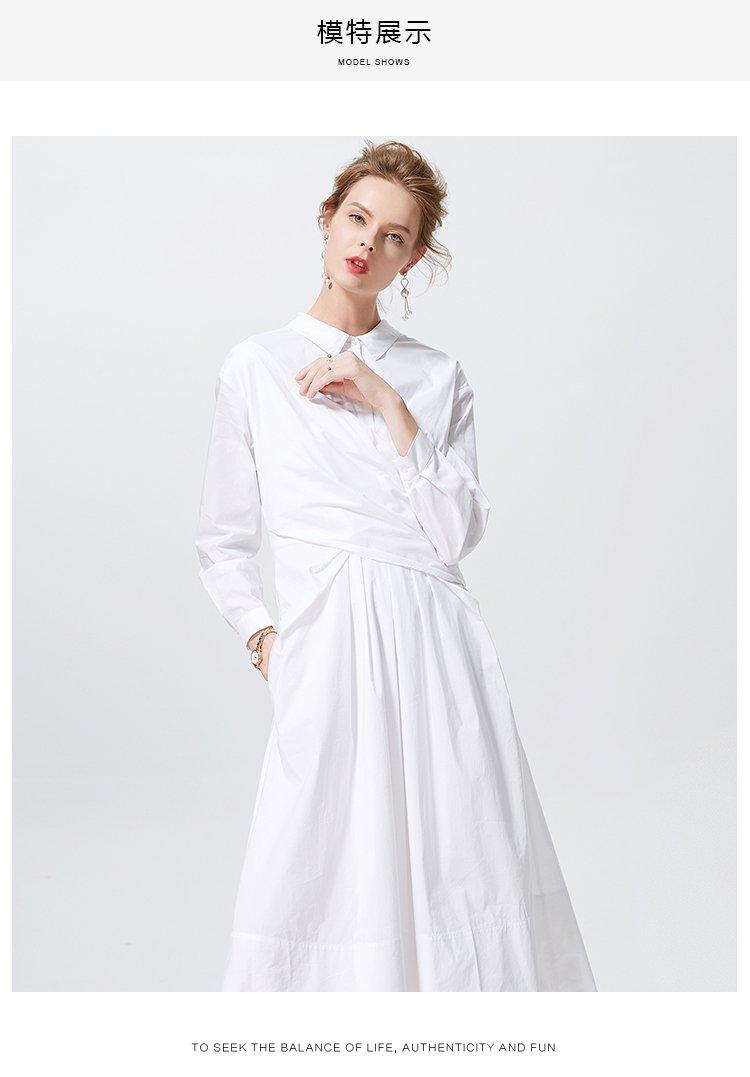 春秋新款纯色衬衫裙长款polo领大裙摆a字裙长袖收腰显瘦连衣裙女