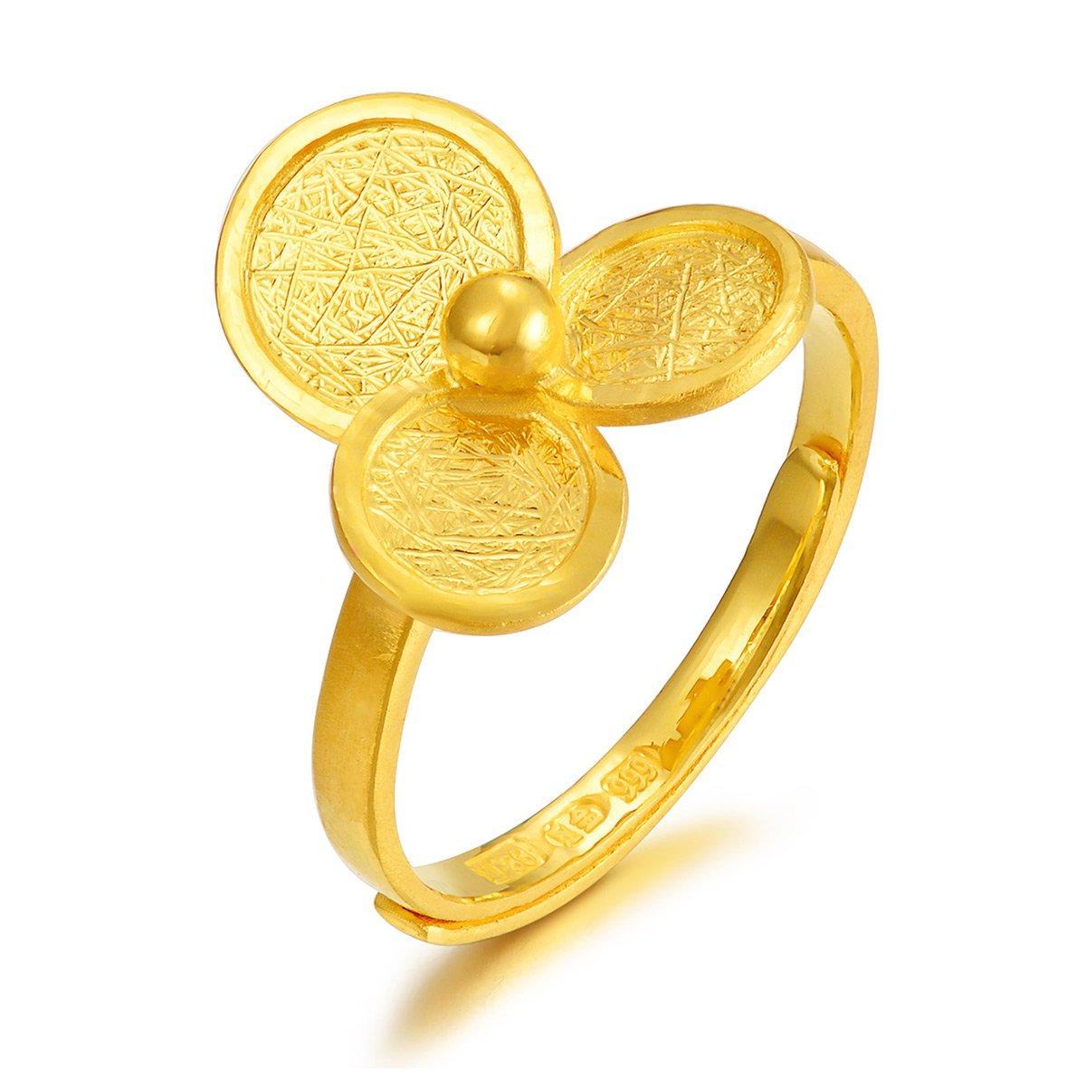 中国黄金足金戒指女士黄金戒指真爱之心三叶草黄金戒指女计价ZGHJJZ1731