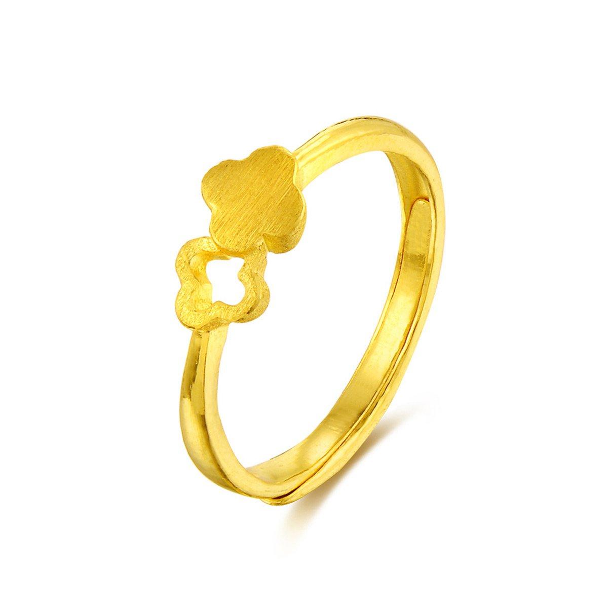 中国黄金足金黄金戒指首饰四叶双花心形戒指精品计价ZGHJJZ1601