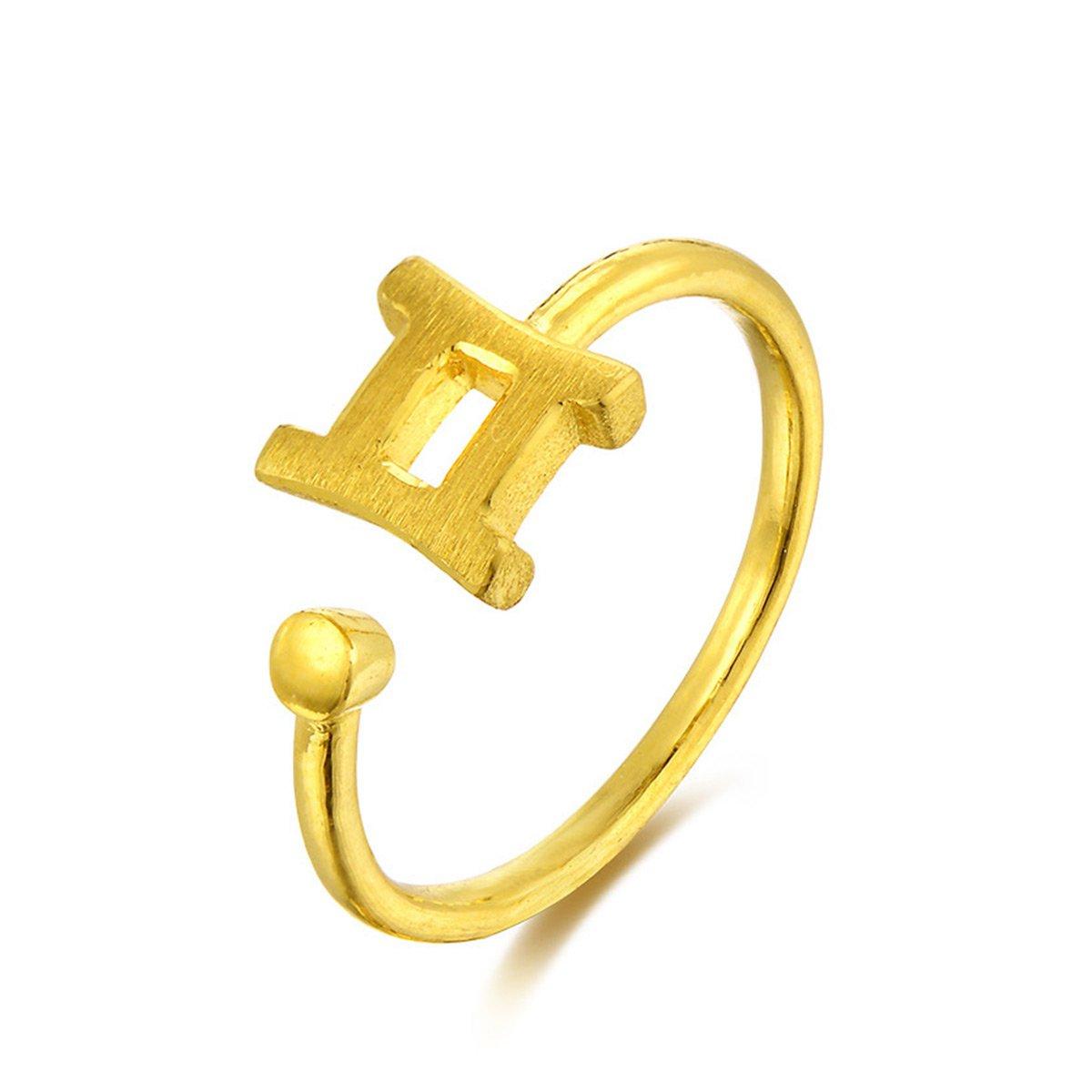中国黄金足金黄金戒指女款黄金首饰十二星座双子座戒指精品计价ZGHJJZ1604