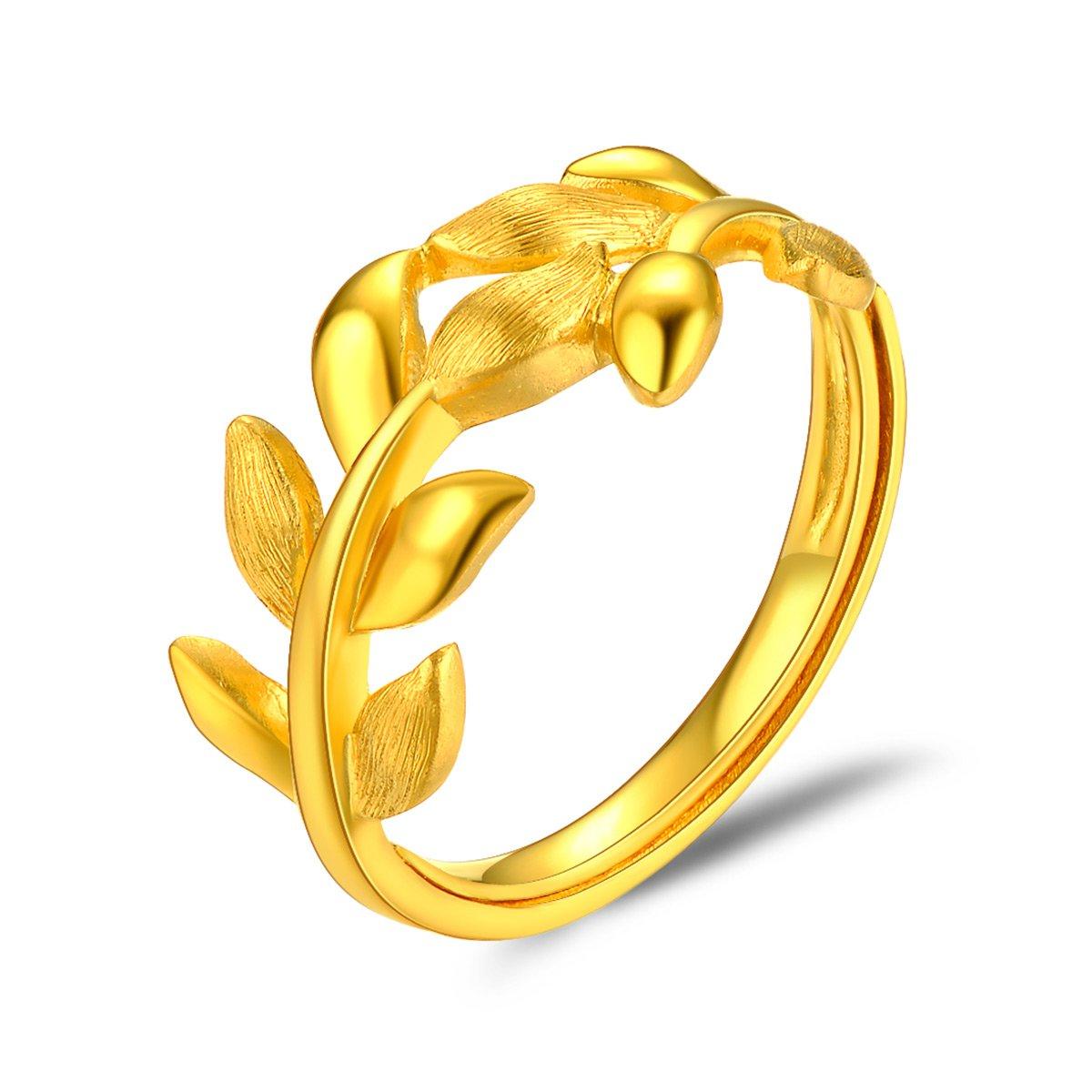 中国黄金足金黄金戒指女金叶良缘爱情黄金戒指精品计价ZGHJJZ2303