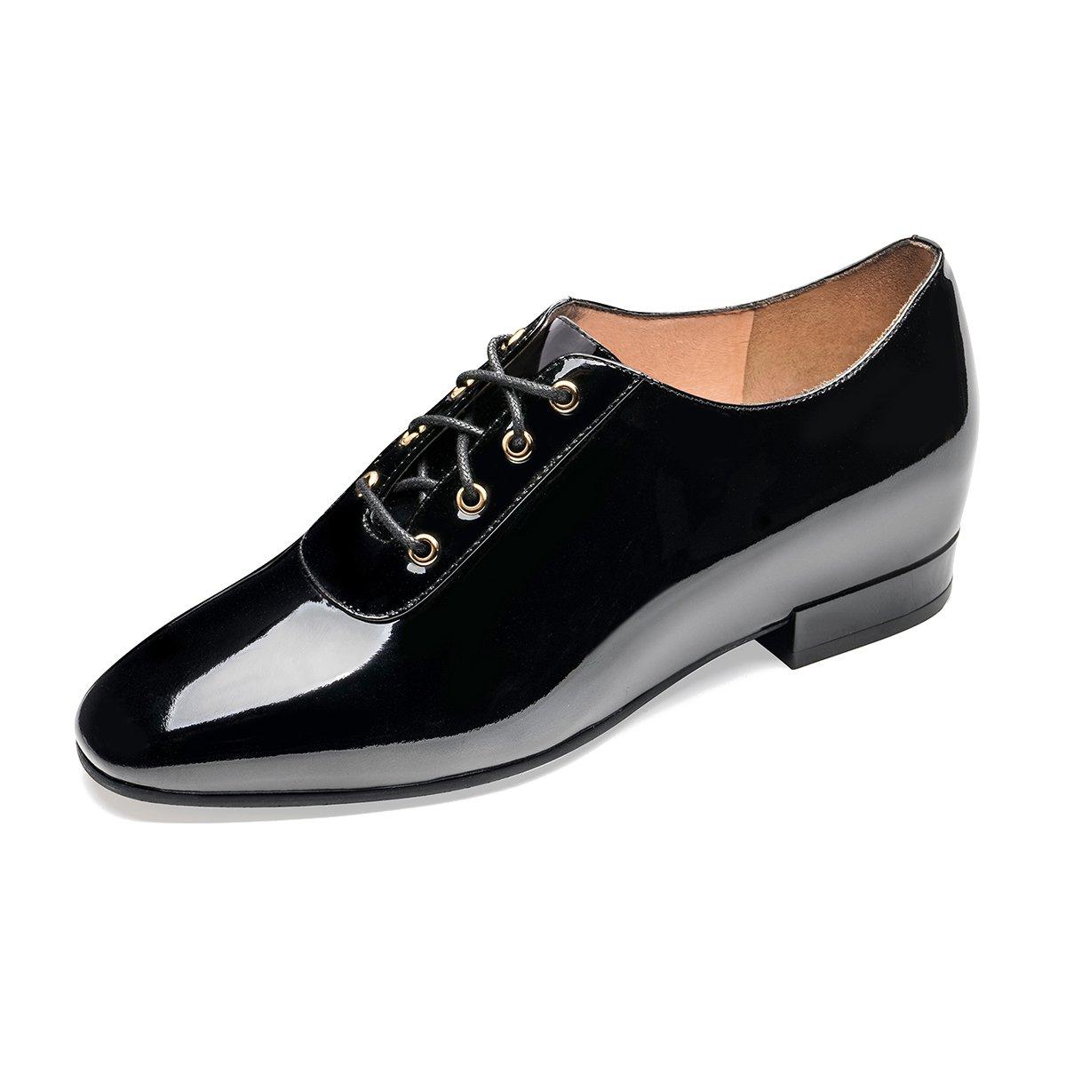莱尔斯丹莱尔斯丹 新款英伦风方头系带平跟内增高女单鞋9T48501LS    9T48501 BKP