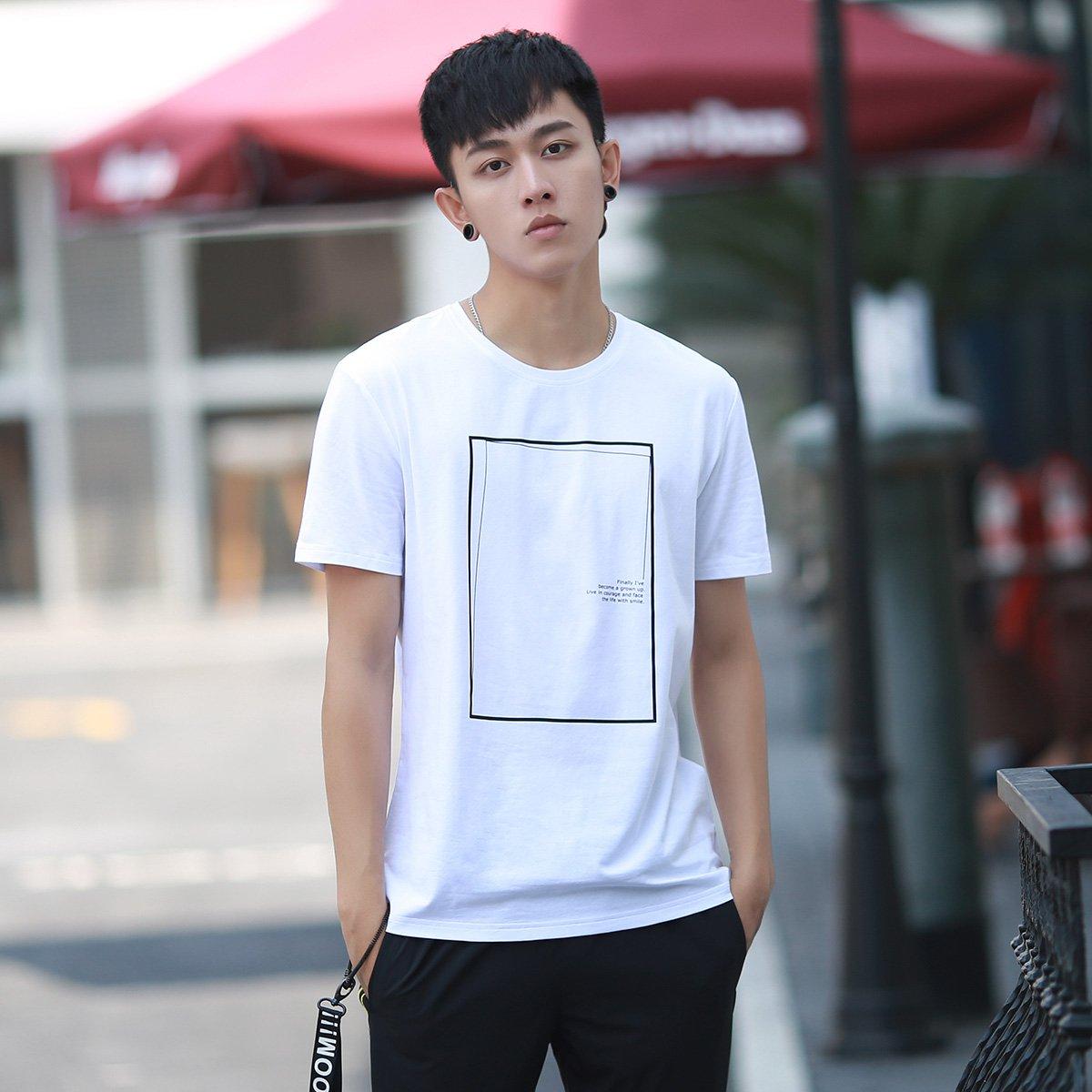 森马棉弹线框留白设计印花短袖男士t恤图片