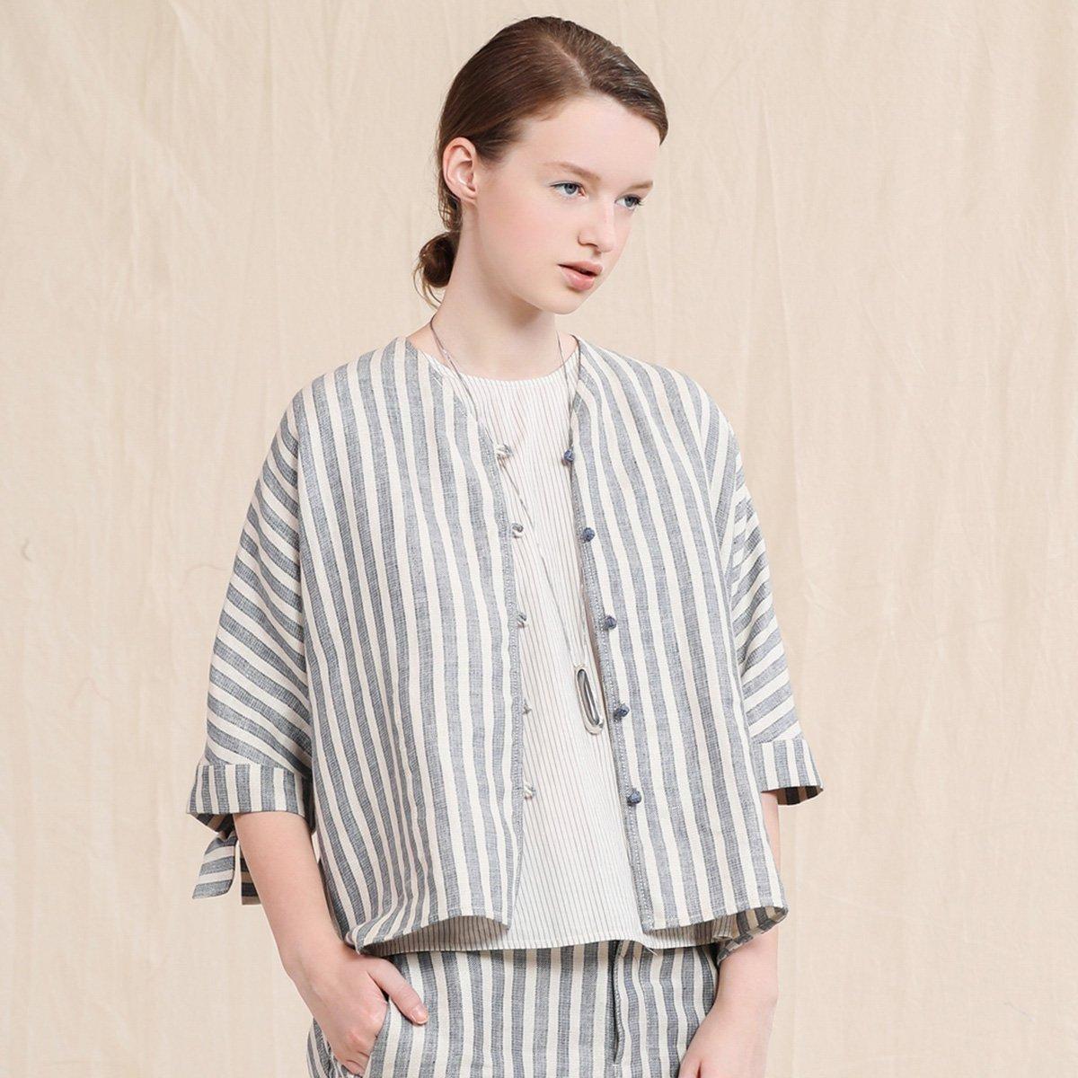 EINPURE TEA/茶愫 亚麻混纺色织条纹箱型外套前短后长2017商场同款TH1101921616