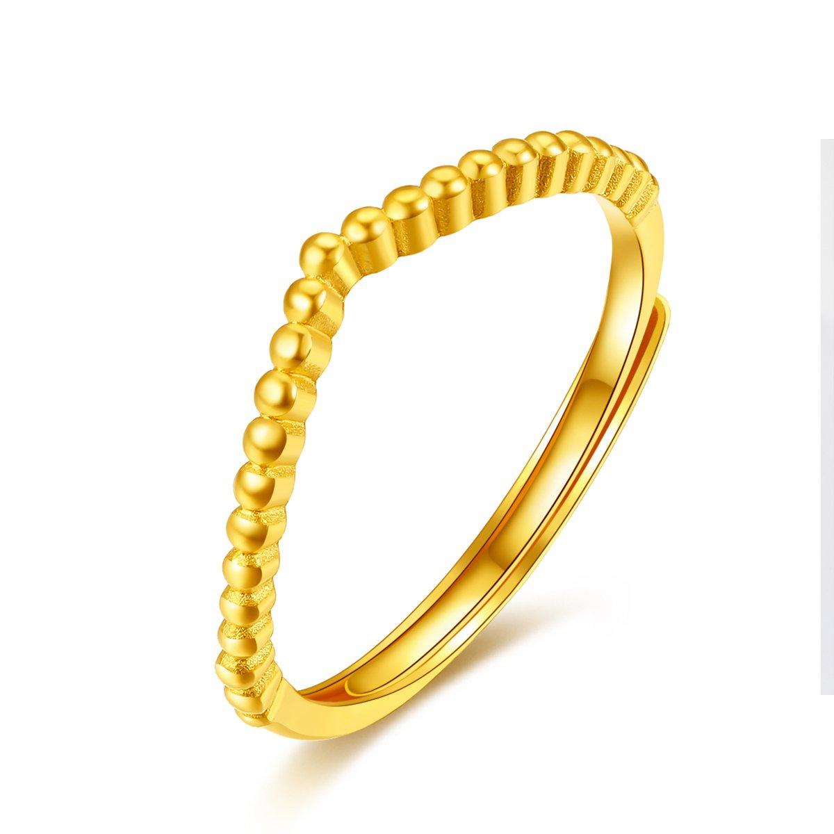 吉盟珠宝吉盟珠宝 黄金戒指女男士足金999珠边V型指环时尚食指戒情侣对戒AR052