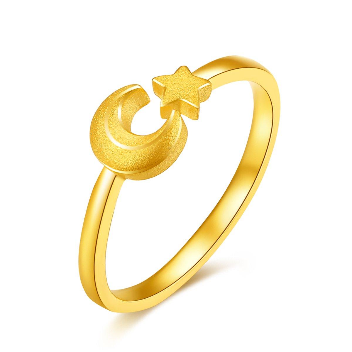 吉盟珠宝吉盟珠宝 黄金戒指女星月指环时尚开口戒足金999情侣结婚对戒尾戒AR056