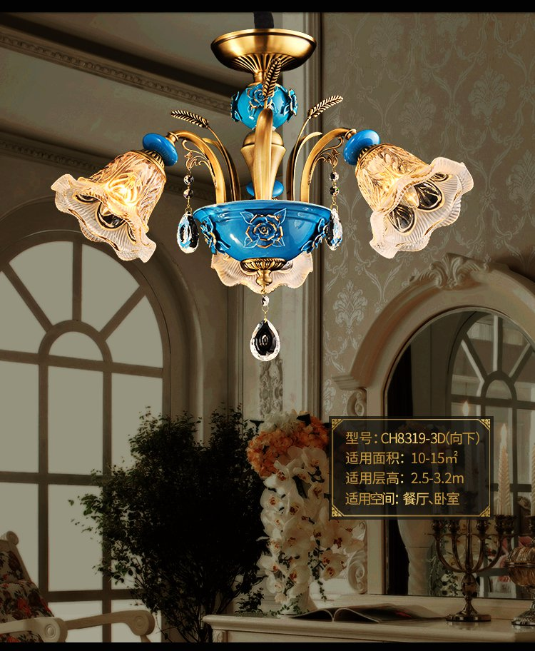欧式水晶灯全铜客厅灯吊灯 复古餐厅卧室灯 美式陶瓷灯具图片