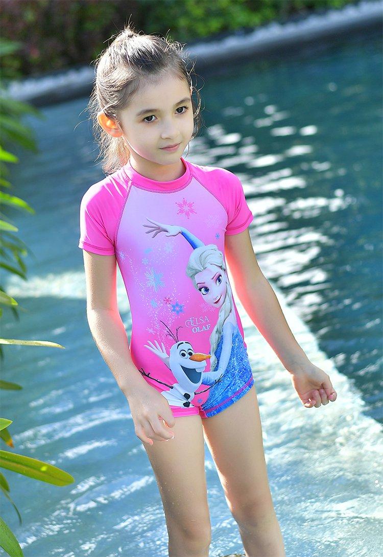 迪士尼儿童冰雪奇缘泳衣女童游泳衣小女孩连体泳装沙滩冲浪服
