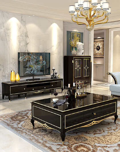 茶几美式轻奢实木茶几组合简约欧式客厅带抽屉电视柜子家具组合