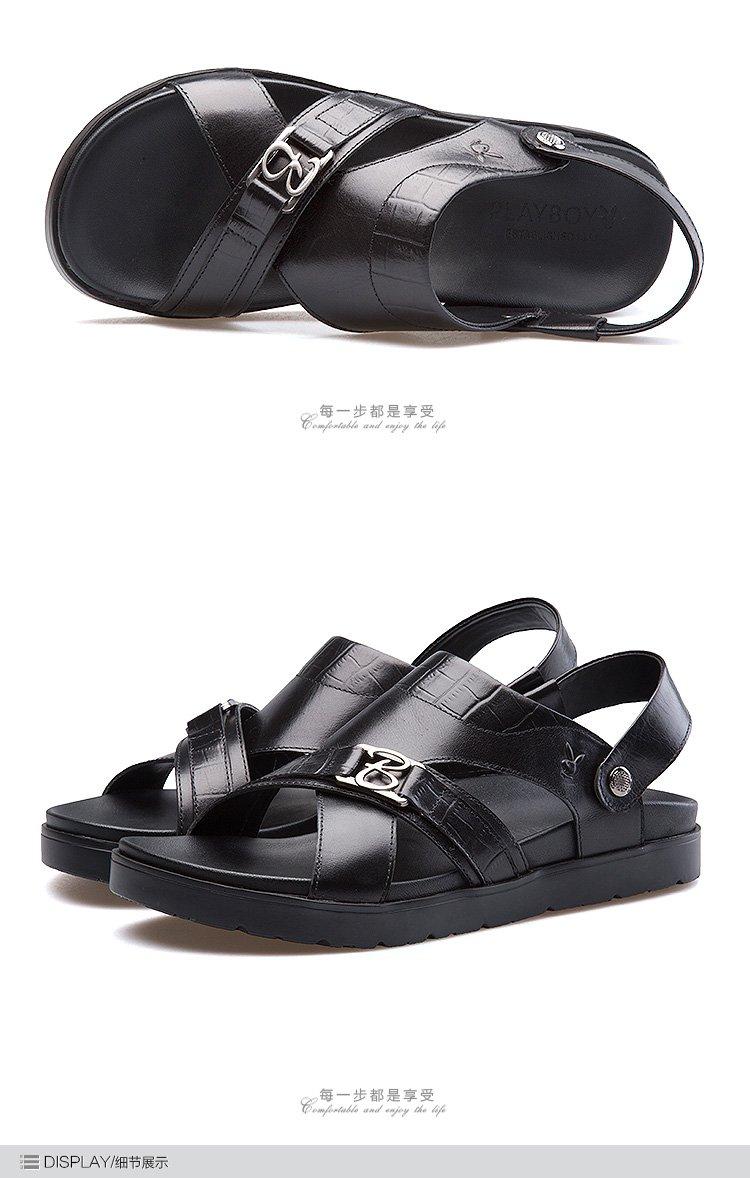 18夏季男士真皮休闲男士凉拖男士沙滩鞋男款凉鞋男鞋男士凉鞋