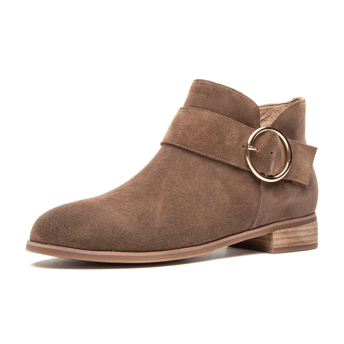 热风冬靴清仓 短筒套脚简约粗跟牛皮休闲靴机车时尚圆扣短靴H82W740502