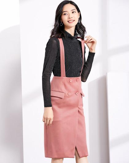 18年秋装新品 轻熟优雅气质时尚修身显瘦简约百搭双排扣背带半身裙