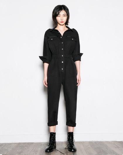 2018新款多口袋梭织女款工装连体休闲裤