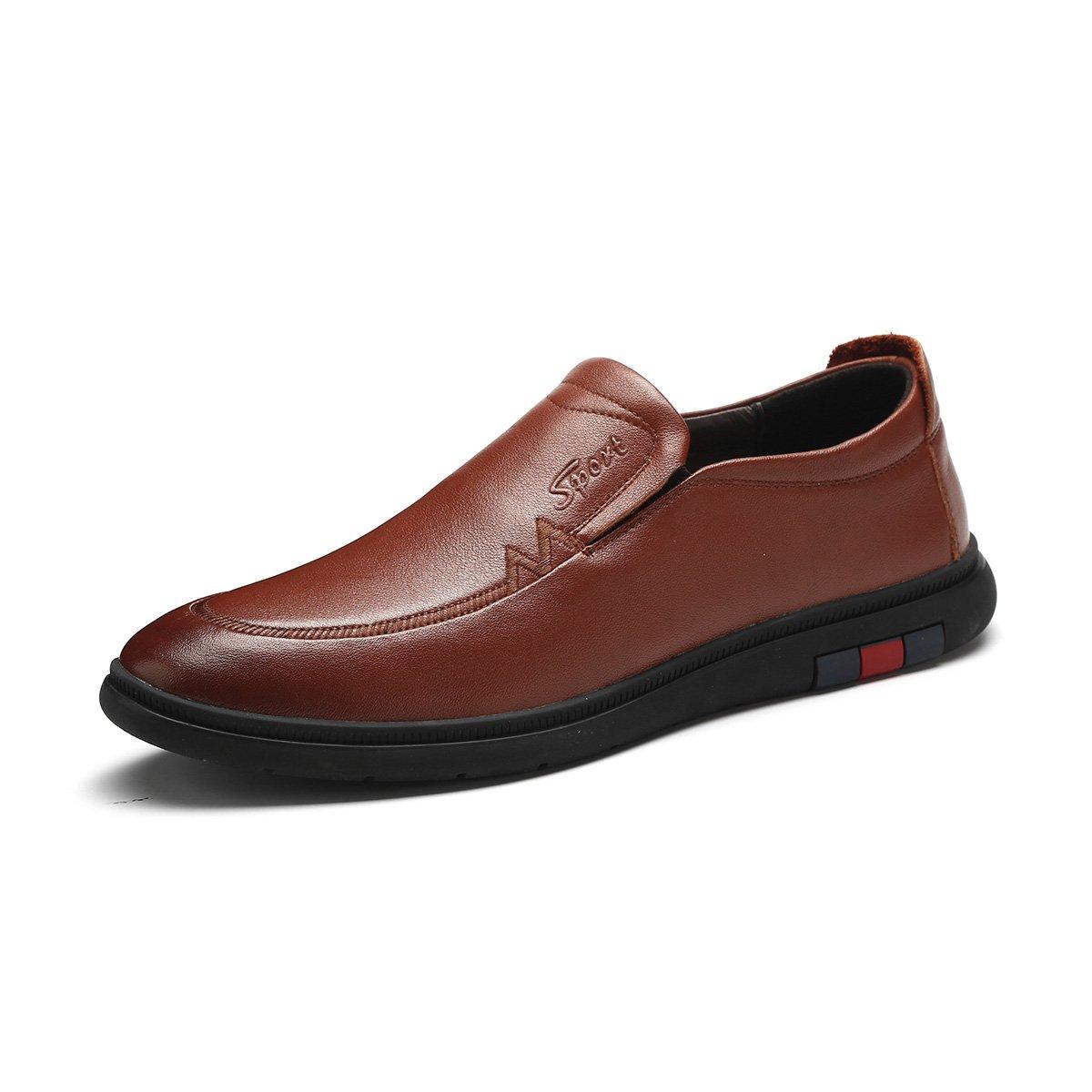 信诺新款秋季男士休闲鞋真皮系带男鞋韩版圆头时尚爸爸鞋潮流软底单鞋N31201棕色