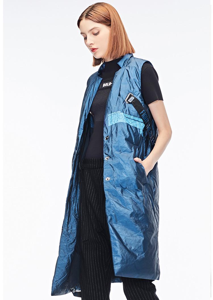 酷感新潮金属圆环字母飘带穿孔设计无袖女式羽绒背心